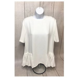 NWOT Zara Ruffle White Top